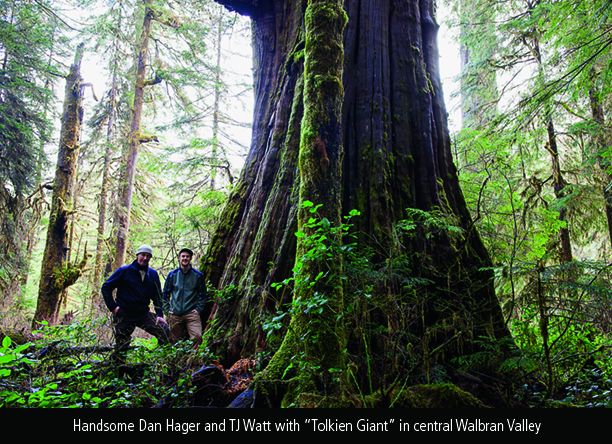 "Dan Hager and TJ Watt with ""Tolkien Giant"" in central Walbran Valley"