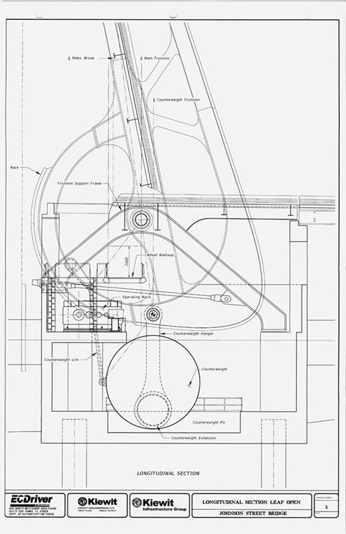 Kiewit's mechanical concept with span in open position