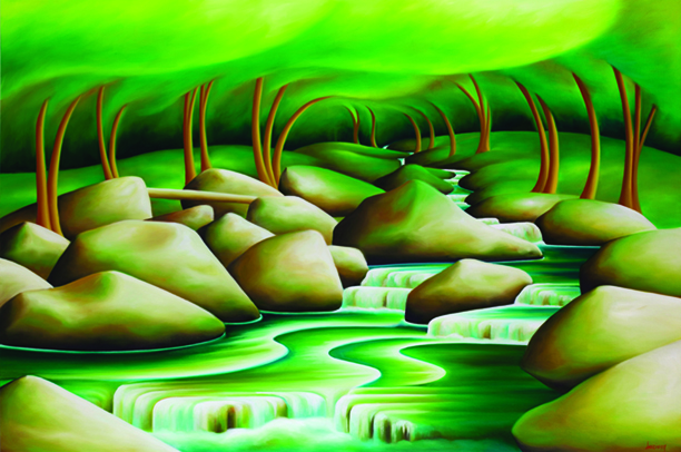 """The River Knows"" by Dana Irving, 40 x 60 inches, oil on canvas"