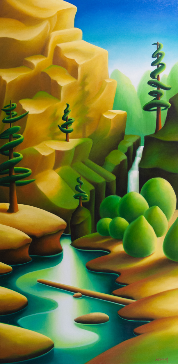 """To the Potholes (Sooke)"" by Dana Irving, 48 x 24 inches, oil on canvas"